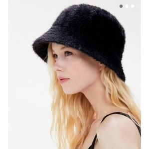 Urban Outfitters Gia black fuzzy fur bucket hat